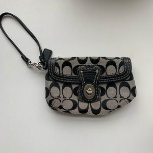 Black and gray coach wristlet